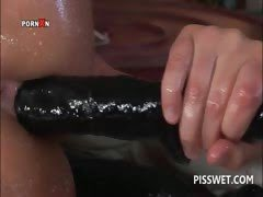 Wet slut slurps hot piss...