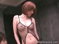 Hot asian babe in sexy...